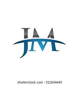 JM initial company blue swoosh logo