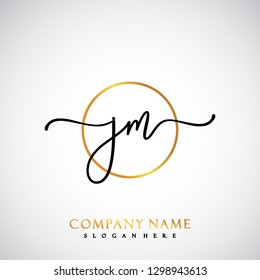JM Initial Handwriting logo template vector