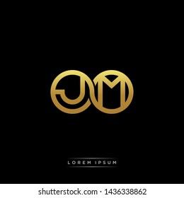 JM initial letter linked circle capital monogram logo modern template
