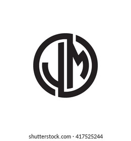 JM initial letters looping linked circle monogram logo