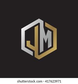 JM initial letters looping linked hexagon elegant logo golden silver black background