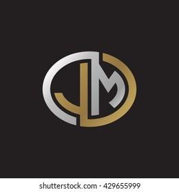 JM initial letters looping linked ellipse elegant logo golden silver black background