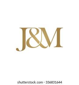 J&M Initial logo. Ampersand monogram golden logo