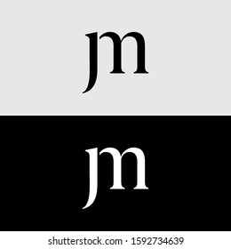 jm initial logo template black and white