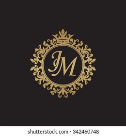 JM initial luxury ornament monogram logo