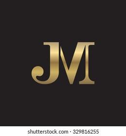 JM initial monogram golden logo