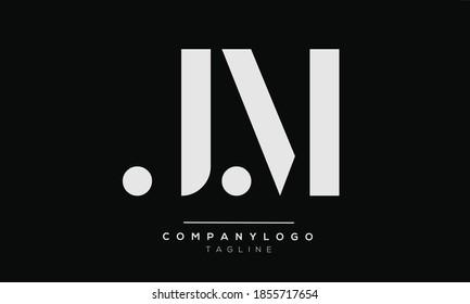 JM initials monogram letter text alphabet logo design