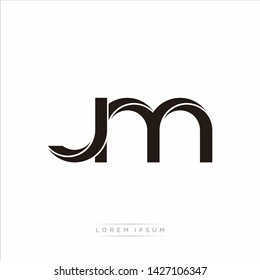 jm j m Initial Letter Split Lowercase Modern Monogram linked outline rounded logo