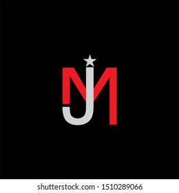 JM Letter monogram with abstrac concept style design