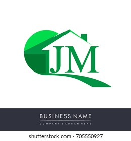 JM letter roof shape logo green, initial logo AB with house icon, business logo and property developer.