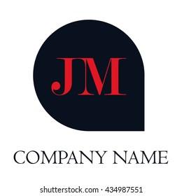 JM Letters red , Abstract black background logo, Design identity in shape, Alphabet letter
