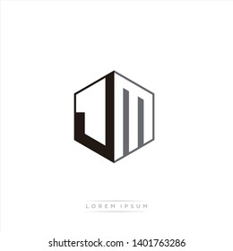 JM Logo Initial Monogram Negative Space Design Template With Black and Grey color