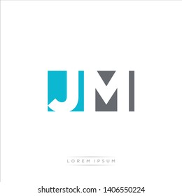 JM Logo Letter with Modern Negative space - Light Blue and Grey Color EPS 10
