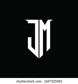 JM logo monogram with emblem shield style design template