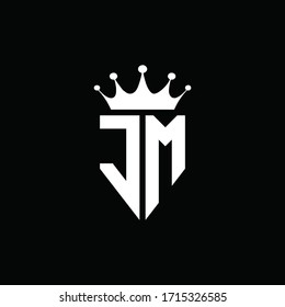 JM logo monogram emblem style with crown shape design template