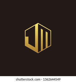JM Logo Monogram with Negative space gold colors