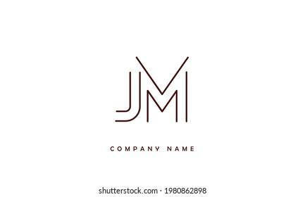 JM, MJ Alphabets Letters Logo Monogram
