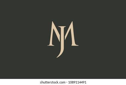 JM MJ Letter Initial Logo Design Template