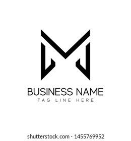 JM monogram logo design, initial letter logo design