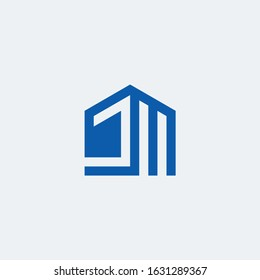 JM monogram logo with house building shape.