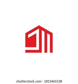 JM monogram logo in house shape red color