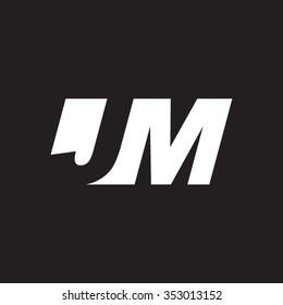JM negative space letter logo black background