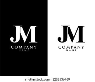 jm/mj initial company name logo template vector