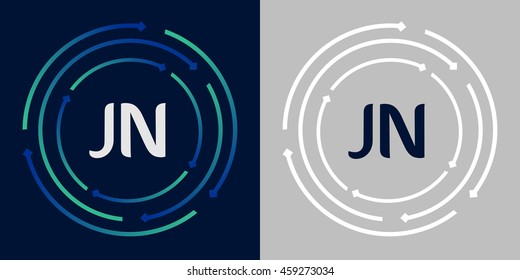 JN design template elements in abstract background logo, design identity in circle, letters business logo icon, blue/green alphabet letters, simplicity graphics