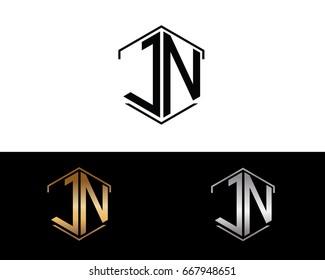 JN hexagon shape initial letter logo
