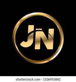 JN initial circle company logo gold black background