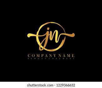 JN initial handwriting logo circle template vector