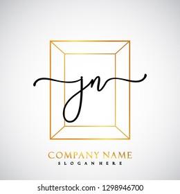 JN Initial Handwriting logo template vector