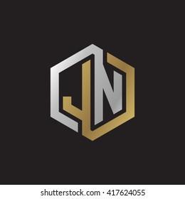 JN initial letters looping linked hexagon elegant logo golden silver black background