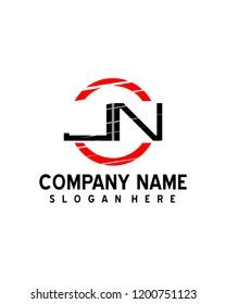 JN Initial logo with circle template vector