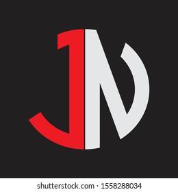 JN Initial Logo design Monogram Isolated on black background