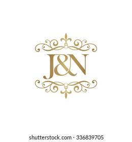 J&N Initial logo. Ornament ampersand monogram golden logo