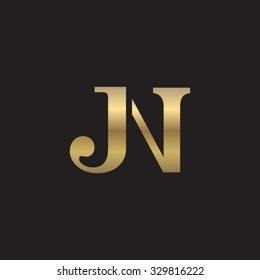 JN initial monogram golden logo