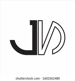 JN Letter logo monogram with oval shape negative space design template white background
