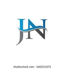 JN letter Type Logo Design vector Template. Letter JN logo Design
