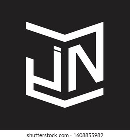 JN Logo Emblem Monogram With Shield Style Design Template Isolated On Black Background