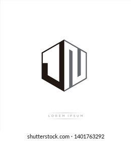 JN Logo Initial Monogram Negative Space Design Template With Black and Grey color