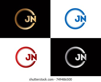 JN Logo. Letter Design Vector with Red and Black Gold Silver Colors