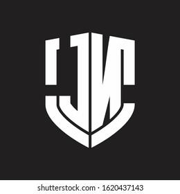 JN Logo monogram with emblem shield shape design isolated on black background