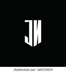 JN logo monogram with emblem style isolated on black background