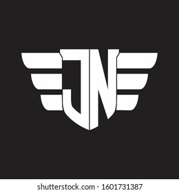 JN Logo monogram with emblem and wings element design template