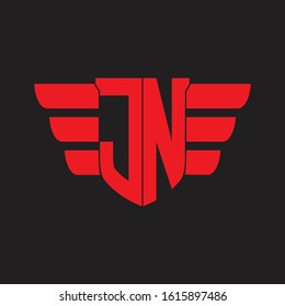 JN Logo monogram with emblem and wings element design template on red colors