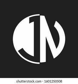 JN Logo monogram with Negative space style design tempate