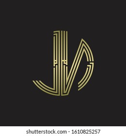 JN Logo monogram triple ribbon style line design template isolated with gold color