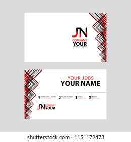 The JN logo on the red black business card with a modern design is horizontal and clean. and transparent decoration on the edges.