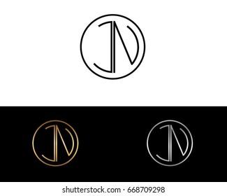 JN round circle shape initial letter logo